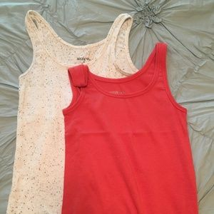 Merona Tank Bundle, Coral and Cream Speckled - S